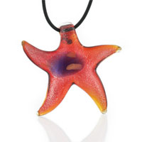 Murano Glass Blue And Red Star Necklace Pendant
