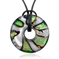 Murano Glass Green And Striped Round Shaped Pendant Necklace