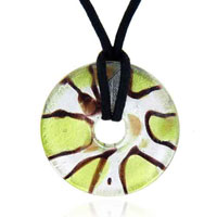 Murano Glass Green And Striped Oval Lampwork Necklace Pendant