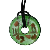 Murano Glass Sterling Silver Green And Round Necklace Pendant Earrings