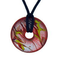 Murano Glass With Yellow And Red Streaked Round Necklace Pendant