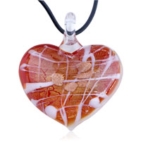 Murano Glass Gold Foil White Lines Heart Pendant Necklace