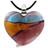 Murano Glass Purple Blue And Gold Heart Pendant Necklace