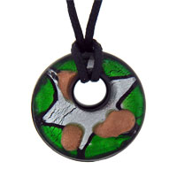 Murano Glass Silver Foil Star Round Green Summer Necklace Pendant