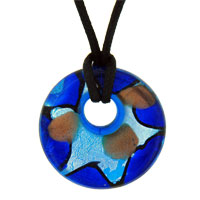 Murano Glass Blue And Silver Foil Starfish Yellow Dots Round Pendant