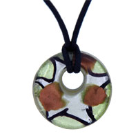 Murano Glass Oliver And Foil Donut Lampwork Necklace Pendant