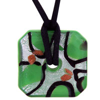 Murano Glass Green Silver Foil Square Donut Pendant Necklace