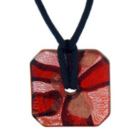 Murano Glass Amber And Silver Foil Square Pendant Necklace