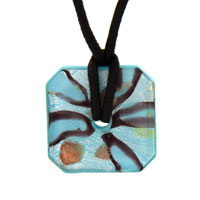 Murano Glass Sterling Silver Topaz And Foil Square Donut Necklace Pendant