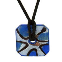 Murano Glass Blue And Foil Square Donut Necklace Pendant