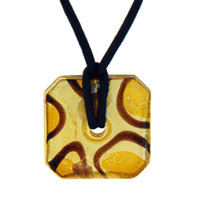 Murano Glass Sterling Silver Citrine And Foil Square Donut Pendant Necklace