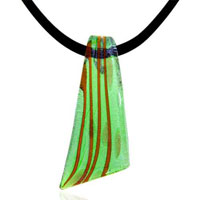 Murano Glass Green Blade Lampwork Pendant Necklace
