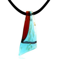 Murano Glass Blue Talisman Blade Necklace Pendant