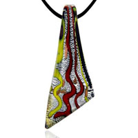 Murano Glass Cascading Waves Blade Lampwork Necklace Pendant Earrings