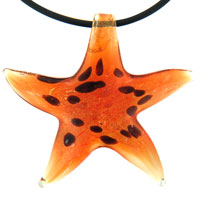 Murano Glass Orange With Black Dots Starfish Pendant Necklace