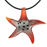 Murano Glass Orange Starfish Lampwork Necklace Pendant
