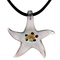 Murano Glass Deep Pink Starfish Lampwork Pendant Necklace