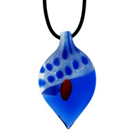 Murano Glass Sapphire Blue Leaf Lampwork Pendant Necklace