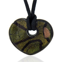 Murano Glass Olive And Gold Foil Heart Pendant Necklace
