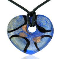 Necklace Murano Glass Blue And Gold Heart Pendant Necklaces