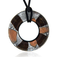 Murano Glass Chocolate Round Lampwork Pendant Necklaces
