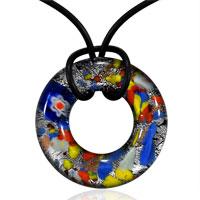 Murano Glass Colorful Round Donut Pendant Necklace