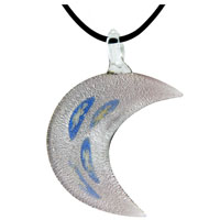 Murano Glass Purple Crescent Moon Necklace Pendant