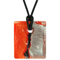 Murano Glass Fire Orange Necklace Pendant Earrings