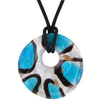 Murano Glass Blue Black Stripes Round Necklace Pendant