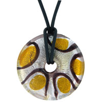 Murano Glass Purple Gold Round Lampwork Necklace Pendant