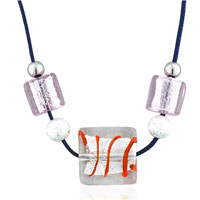 Murano Glass Ice Red Stripe Fashion Jewelry Pendant Necklace Earrings