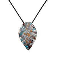 Murano Glass Blue Striped Leaf Oval Necklace Pendant