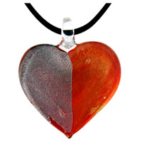 Murano Glass Lampwork Two Tones Heart Shaped Pendant Necklace