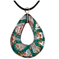 Murano Glass Turquoise Teardrop Lampwork Pendant Necklace