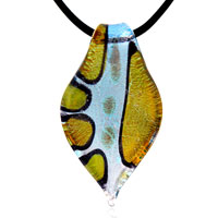 Aqua Blue Yellow Foil Murano Glass Leaf Lampwork Necklace Pendant