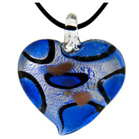 Murano Glass Blue Heart Fashion Jewelry Pendants Necklaces