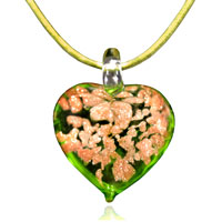 Murano Glass Green Heart With Bronze Glitter Pendant Necklace