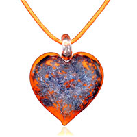 Murano Glass Orange Heart With Purple Pendant Necklace