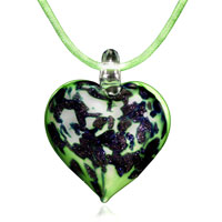 Murano Glass Green Heart With Blue Pendant Necklace