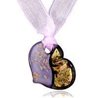 Murano Glass Light Purple And Golden Heart Pendant Necklace