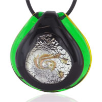Murano Glass Foil Green Pendant Necklace