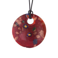 Murano Glass Red Circle Round With Flowers Necklace Pendant Earrings