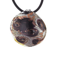 Murano Glass Lampwork Round Brown And Gold Swirl Pendant Necklace