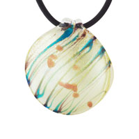 Murano Glass Ivory White Donut Pendant Necklace