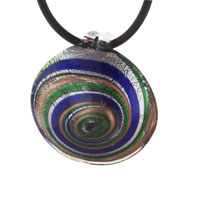 Mothers Day Gifts Murano Glass Round Multicolored Spiral Necklace Pendant