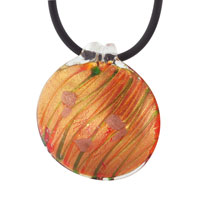 Murano Glass Round Bright Orange Necklace Pendant Earrings