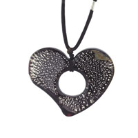 Murano Glass Sterling Silver Speckled Heart Shape Pendant Necklaces