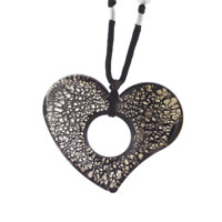 Murano Glass Sterling Silver Speckled Brown Heart Pendant Necklaces