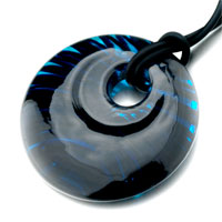 Mothers Day Gifts Murano Glass Turquoise Blue Black Waves Necklace Pendant