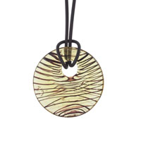 Murano Glass Round Champagne Yellow And Brown Necklace Pendant